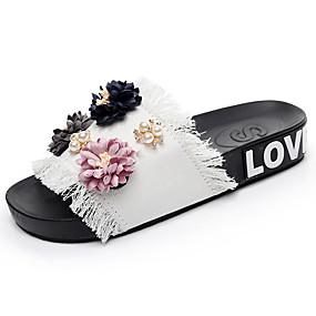 cheap Women's Slippers & Flip-Flops-Women's Slippers & Flip-Flops Flat Heel Open Toe Pearl / Satin Flower Denim Comfort Summer Black / Blue / Pink