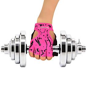 billige Sportsstøtter-Sykkelhansker / Treningshansker til Yoga & Danse Sko / Trening Halvfingret / Klistret Elastan / Mikrofiber Fiber Ett par Grønn / Rosa