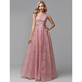 bec063a5a1e Γραμμή Α Illusion Seckline Μακρύ Δαντέλα / Τούλι See Through Χοροεσπερίδα / Επίσημο  Βραδινό Φόρεμα με Ζώνη / Κορδέλα με TS Couture®