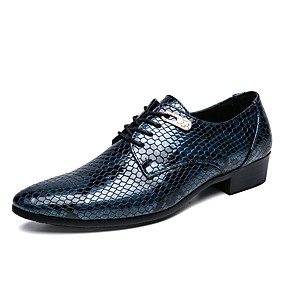 baratos Oxfords Masculinos-Homens Sapatos Confortáveis Couro Ecológico Primavera Verão Negócio / Casual Oxfords Não escorregar Preto / Azul Real