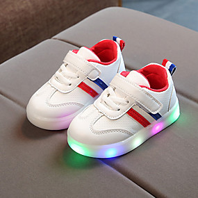cheap Shoes & Bags-Boys' / Girls' Shoes PU(Polyurethane) Spring / Fall / Spring & Summer Comfort / Light Up Shoes Sneakers Lace-up / Magic Tape / LED for Kids / Baby Black / Army Green / Red / Striped