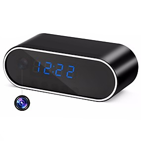 billige Overvåkningskameraer-hqcam 720p hd h.264 wifi bordklokke mini kamera p2p dvr videokamera alarm sett nattesyn fjernkontroll mikro 2200ma batterier 1/4 tommers cmos simulert kamera