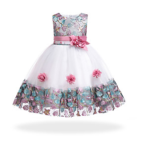 cheap France Promotion 2019-Kids Girls' Basic / Sweet Party / Holiday Floral / Patchwork Patchwork Sleeveless Knee-length Cotton / Polyester Dress Orange