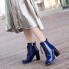 billige Mote Boots-Dame Støvler British Style Plaid Shoes Tykk hæl Spisstå PU Ankelstøvler Trendy støvler / Ankelstøvel Høst vinter Svart / Rød / Blå