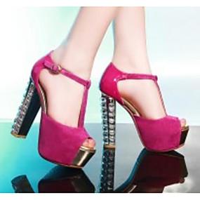voordelige Wijdere maten schoenen-Dames Hoge hakken Blokhak Suède Comfortabel / Basispump Lente / Zomer Zwart / Fuchsia / Blauw / Dagelijks