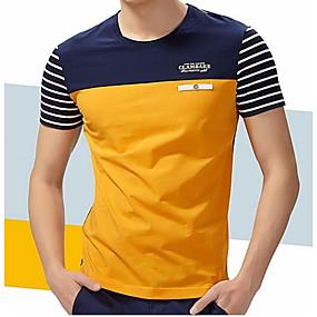 ราคาถูก Tendências de Verão 2019 – Para Eles-สำหรับผู้ชาย ขนาดพิเศษ เสื้อเชิร์ต ฝ้าย ลายต่อ คอกลม ลายแถบ / ลายบล็อคสี สีน้ำเงิน XXL / แขนสั้น