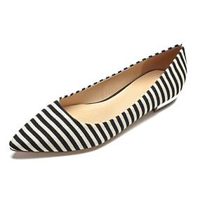 voordelige Damesschoenen met platte hak-Dames Platte schoenen Platte hak Gepuntte Teen Katoen Comfortabel Lente zomer Zwart / Blauw / Gestreept