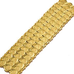baratos Pulseiras Vintage-Mulheres Bracelete Pulseiras Algema Escultura senhoras Étnico Chapeado Dourado Pulseira de jóias Dourado Para Festa Presente