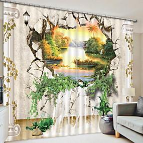 abordables Cortinas 3D-Oscuridad Cortinas 3D 2 * (W110cmxL180cm) Blanco / Dormitorio