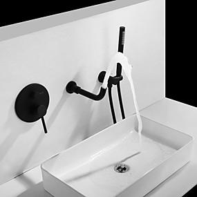 billige Ugentlige tilbud-Baderom Sink Tappekran - Foss / Utbredt Malte Finishes Vægmonteret To Håndtak tre hullBath Taps