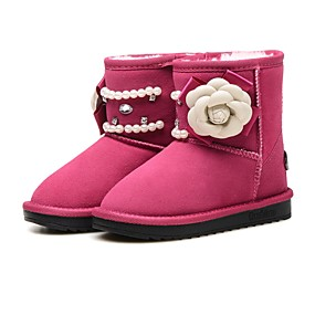 0eddff5bcb6 Girls  Shoes Rabbit Fur   Suede Winter Snow Boots Boots Rhinestone   Chain    Flower for Kids   Toddler Black   Peach   Pink   Mid-Calf Boots   Party    ...