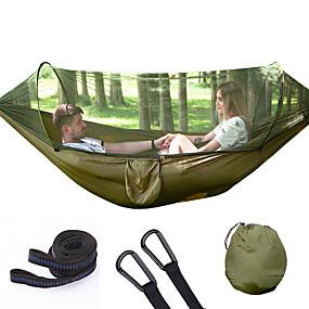 ieftine Sports & Outdoors-Camping Hammocks cu Pop-Up Mosquito Net Hamac dublu În aer liber Folding portabil Rezistent la umezeală Bine Ventilat Parachute Nylon pentru 2 persoane Drumeție Plajă Camping Rose roz / albastru