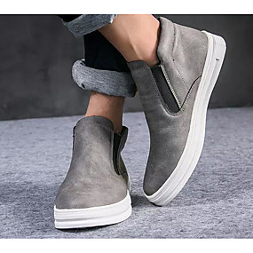 baratos Botas Masculinas-Homens Sapatos Confortáveis Microfibra Primavera & Outono Botas Botas Curtas / Ankle Preto / Cinzento / Marron