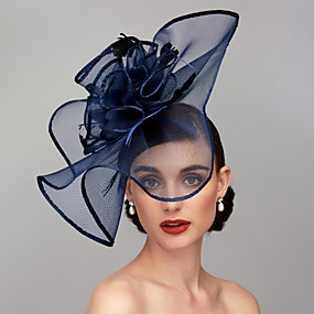 cheap Daily Deals-Feather / Net Kentucky Derby Hat / Fascinators / Headpiece with Feather / Floral / Flower 1pc Wedding / Special Occasion Headpiece
