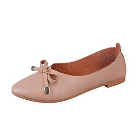 abordables Chaussures Plates pour Femme-Femme Chaussures de confort Polyuréthane Automne Minimalisme Ballerines Talon Plat Noeud Blanc / Beige / Brun claire