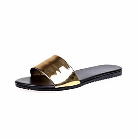 d5b2932e823a03 Women s Slingback Patent Leather Spring   Summer Minimalism Slippers   Flip- Flops Walking Shoes Flat Heel Peep Toe White   Black   Silver