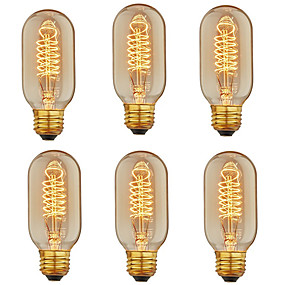 billige Glødelampe-6pcs 40 W E26 / E27 T45 Varm hvit 2200-2800 k Kontor / Bedrift / Mulighet for demping / Dekorativ Glødende Vintage Edison lyspære 110-130 V