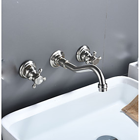 cheap Faucets-Bathroom Sink Faucet - Widespread Nickel Polished Widespread Two Handles Three HolesBath Taps
