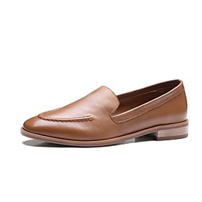 460db81fe6e Women s Comfort Shoes Nappa Leather Spring   Summer Loafers   Slip-Ons  Block Heel Black   Light Brown
