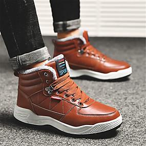 baratos Botas Masculinas-Homens Sapatos Confortáveis Couro Inverno Casual Botas Manter Quente Marron / Ao ar livre / Botas de Neve