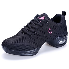 22e35836c87586 Women s Dance Sneakers Mesh Sneaker Flat Heel Customizable Dance Shoes Black