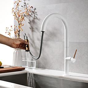 billige Uttrekkbar Spray-Kjøkken Kran - To Håndtak et hull Malte Finishes Uttrekkbar Vannrett Montering Moderne Kitchen Taps