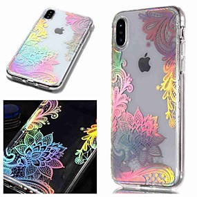 billige iPhone-etuier-Etui Til Apple iPhone XR / iPhone XS Max IMD / Transparent / Mønster Bagcover Blomst Blødt TPU for iPhone XS / iPhone XR / iPhone XS Max