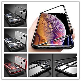 olcso Apple tartozékok-Case Kompatibilitás Apple iPhone X Ütésálló / Mágneses Fekete tok Egyszínű Kemény Hőkezelt üveg mert iPhone X / iPhone 8 Plus / iPhone 8