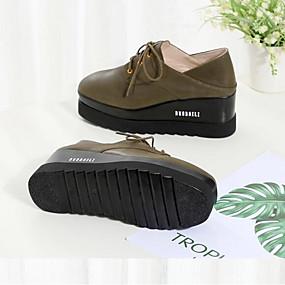 b7806982 Damskie Komfortowe buty Skóra nappa Lato Oksfordki Creepersy Czarny /  Zieleń wojskowa / Ciemnobrązowy