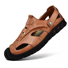 baratos Sandálias Masculinas-Homens Sapatos Confortáveis Couro Verão Sandálias Preto / Marron / Khaki