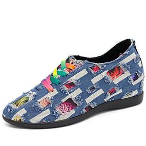 cheap Women's Wedges-Women's Sneakers Comfort Shoes Wedge Heel Round Toe Denim Casual Fall Dark Blue / Light Blue / Color Block