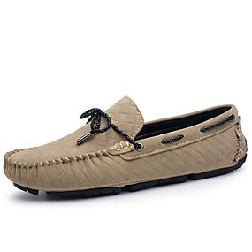 voordelige Wijdere maten schoenen-Heren Mocassin Leer Herfst Klassiek / Informeel Bootschoenen Houd Warm Zwart / Grijs / Khaki