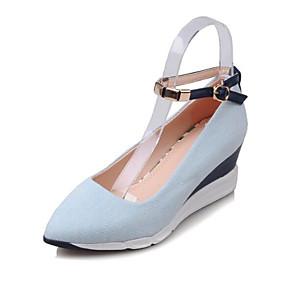 cheap Women's Wedges-Women's Pumps Denim Spring Heels Wedge Heel Dark Blue / Light Blue / Daily