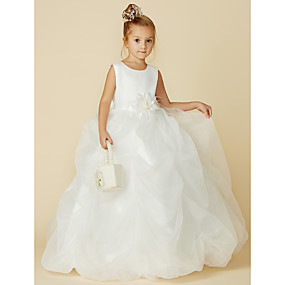 af55c82af61 Ball Gown Floor Length Flower Girl Dress - Organza   Satin Sleeveless Jewel  Neck with Bow(s)   Sash   Ribbon   Flower by LAN TING BRIDE®
