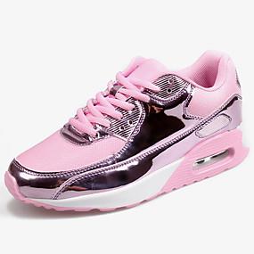 baratos Sapatos Esportivos Femininos-Mulheres Tênis Sem Salto Sintéticos / Tissage Volant Esportivo / Casual Corrida Primavera & Outono Preto / Dourado / Prata