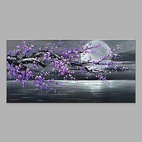 halpa Abstraktit maalaukset-Hang-Painted öljymaalaus Maalattu - Abstrakti Kukkakuvio / Kasvitiede Moderni Ilman Inner Frame / Valssatut kankaat