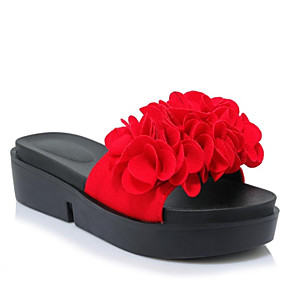 13431632b8640e Women s Suede Summer Sweet   Minimalism Slippers   Flip-Flops Creepers Open  Toe Satin Flower Black   Red   Green