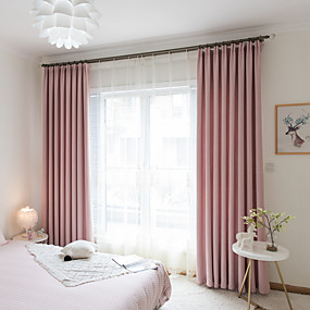 billige Udsalg-blackout gardiner gardiner to paneler soverom solid farget lin / polyester blanding garn farget