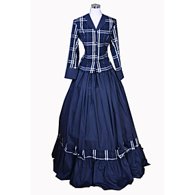 ราคาถูก ของเล่นและงานอดิเรก-Rococo Victorian ศตวรรษที่ 18 หนึ่งชิ้น ชุดเดรส Outfits สำหรับผู้หญิง เครื่องแต่งกาย ฟ้า Vintage คอสเพลย์ ฝ้าย ปาร์ตี้ Prom แขนยาว ลากพื้น ความยาว บอลกาวน์ ขนาดพิเศษ ที่กำหนดเอง