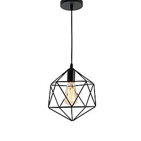 abordables Plafonniers-millésime cage métallique noire pendentif luminaires salon salle à manger couloir café bars luminaire peint finition
