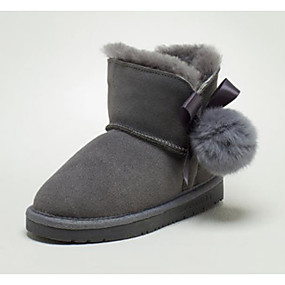 ad1ade90b0d Boys    Girls  Shoes Rabbit Fur   Suede Winter Snow Boots Boots Pom-pom for  Kids Gray   Pink   Booties   Ankle Boots