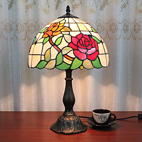 billige Bordlamper-12 tommers skrivebord lys rose kunstneriske tiffany ambient lamper dekorative nydelig bordlampe for innendørs soverom harpiks 110-120v 220-240v 40w * 1 pære ikke inkludert