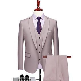 رخيصةأون Prom Suits-لون سادة قالب مثالي بوليستر دعوى - حز Single Breasted One-button / بدلة