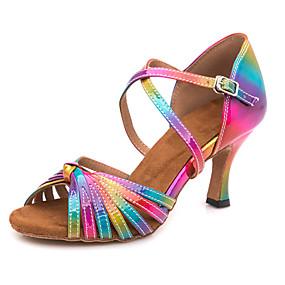 povoljno Klasična kolekcija plesnih cipela-Žene PU Cipele za latino plesove Kopča Sandale / Tenisice Tanka visoka peta Moguće personalizirati Duga / Seksi blagdanski kostimi / Koža
