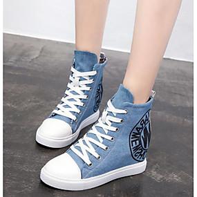 cheap Women's Wedges-Women's Canvas Fall Sneakers Wedge Heel Black / Light Blue
