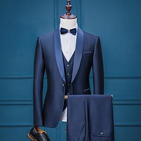 رخيصةأون Prom Suits-لون سادة قالب مثالي بوليستر دعوى - ياقة شال Single Breasted One-button / بدلة