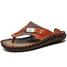 baratos Sandálias e Chinelos Masculinos-Homens Sapatos de couro Pêlo de Coelho / Pele Verão Vintage / Casual Chinelos e flip-flops Respirável Preto / Marron