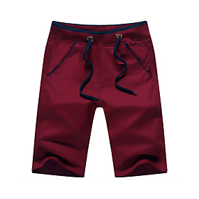 cheap Under $13.99-Men's Cotton Slim Straight / Loose / Shorts Pants - Solid Colored Red / Spring / Weekend