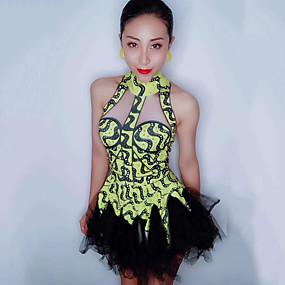 5f46452e452 Στολές χορού Εξωτικά ρούχα χορού / Ολόσωμες φόρμες για νυχτερινή έξοδο  Γυναικεία Επίδοση Spandex Διαφορετικά Υφάσματα / Κρύσταλλοι / Στρας Αμάνικο  Φόρεμα
