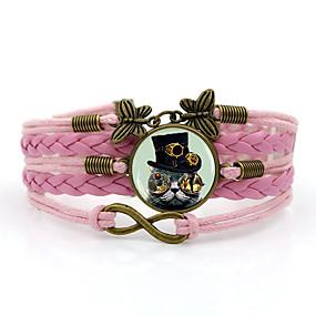 baratos Pulseiras Vintage-Mulheres tear Bracelet Clássico Gato Vintage Steampunk Cordão Pulseira de jóias Marron / Azul / Rosa claro Para Diário Para Noite
